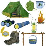 Set of watercolor illustrations of travel supplies stock illustration