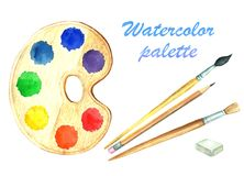 A set of watercolor images of stationery. A collection of subjects for school and office. Colorful illustration. Handmade drawing. Isolated image on white vector illustration