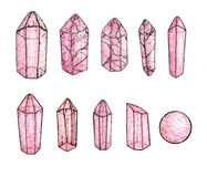 Set of watercolor and ink hand painted pink gems and crystals. Isolated on the white background Stock Images