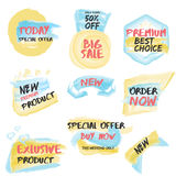Set of watercolor labels Stock Image