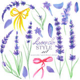 Set of the watercolor lavender elements and bows for decoration Royalty Free Stock Images