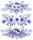 Set Of Watercolor Light Blue And Violet Flowers Bouquets royalty free illustration