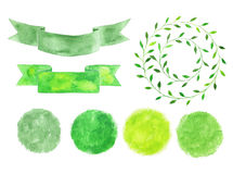 Set of watercolor logotypes. Green spots, labels, badges, leaves Royalty Free Stock Photography