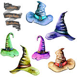 Set of watercolor Magic old hats Royalty Free Stock Images