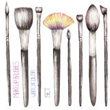 A set with the watercolor makeup brushes Royalty Free Stock Photo