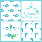 Set of watercolor marine seamless patterns, page decorations and dividers. Stock Photography