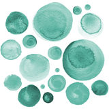 Set of watercolor mint green, sea blue, aquamarine circles. Watercolour round elements for logo design, banners, posters Royalty Free Stock Photo