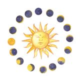 Set of watercolor moon phases and sun. Trendy hipster logotypes. Isolated on white background. Set of watercolor moon phases and sun. Trendy hipster logotypes vector illustration