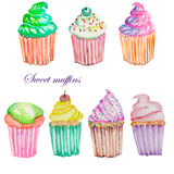 Set with watercolor muffins Royalty Free Stock Photos