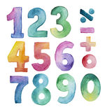 Set of watercolor number from one to nine and zero Royalty Free Stock Image