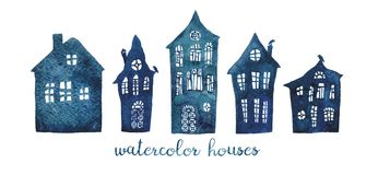 A set of watercolor old crooked houses. stock illustration