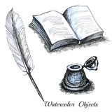 Set watercolor ols stationary feather book or note inkwell Stock Image