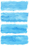Set of watercolor paint brush strokes. Are isolated on a white background Stock Photos