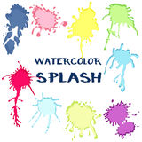 Set watercolor paint splash. Vector collection of color Royalty Free Stock Images