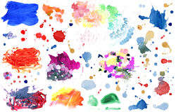 Set watercolor paint on white background Royalty Free Stock Image