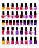 Set of watercolor painted nail polishes Stock Images