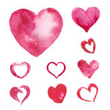 Set of Watercolor painted pink heart Royalty Free Stock Photo