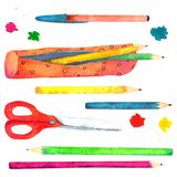 Set of watercolor painted school accessories on white background. vector illustration