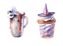 Set of watercolor paintedillustrations for Halloween stock illustration