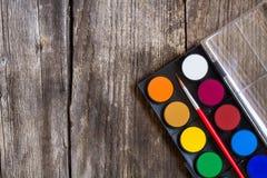 Set of watercolor paints Stock Photos
