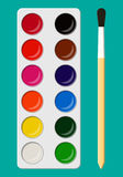 Set of watercolor paints in box with paint brush. Set of bright watercolor paints in box with paint brush for kids. Colorful watercolour box. Different colors stock illustration