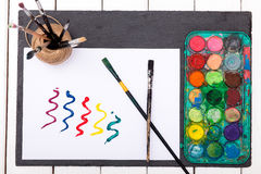 Set of watercolor paints, brushes for painting and  brush strokes Royalty Free Stock Image