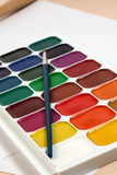 Set of watercolor paints for drawing Royalty Free Stock Photography