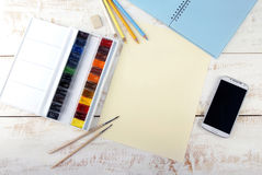 Set of watercolor paints Royalty Free Stock Photos