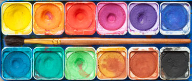 Set of watercolor paints and paintbrush. Royalty Free Stock Image
