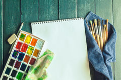 Set of watercolor paints Stock Images