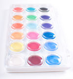 Set of watercolor paints in white box Royalty Free Stock Image