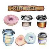 Set of watercolor paper cups and donuts isolated on white background vector illustration