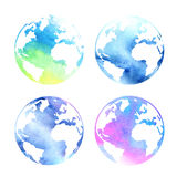 Set of watercolor planets Stock Photo