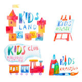 Set of watercolor promo signs with letterings for kids club Royalty Free Stock Photos