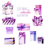 Set of watercolor purple gift boxes. Hand painted isolated on a white background Stock Images