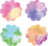 Set watercolor rainbow circle paint spots  Royalty Free Stock Image