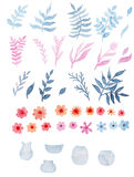 Set Of Watercolor Red Flowers, Blue And Pink Leaves, And Glass Vases Stock Photography