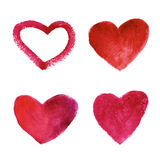 Set of  watercolor red hearts Stock Photos