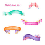Set of watercolor ribbons Stock Images