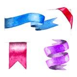 Set of watercolor ribbons Stock Image