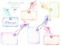 Set of watercolor romantic paper vintage cards with the bows, hand drawn isolated on a white background Stock Photo