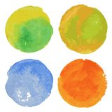 Set of watercolor round backgrounds. Royalty Free Stock Photography