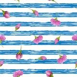 Set of watercolor sakura flower on marine striped background. Cherry flower. Royalty Free Stock Photo