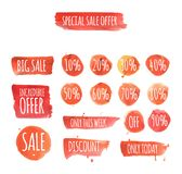 Set of watercolor sale and discount labels Royalty Free Stock Photo