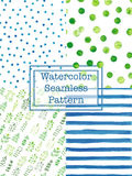Set of watercolor seamless patterns blue and green color. Stock Images