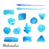 Set of watercolor shapes. Set of hand drawn watercolor shapes isolated on white background for your design Royalty Free Stock Image