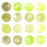 Set of watercolor shapes. Watercolors blobs. Set of colorful watercolor hand painted circle isolated on white. Illustration for artistic design. Round stains Royalty Free Stock Photos