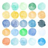 Set of watercolor shapes. Watercolors blobs. Set of colorful watercolor hand painted circle isolated on white. Illustration for artistic design. Round stains vector illustration