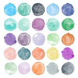 Set of watercolor shapes. Watercolors blobs. Set of colorful watercolor hand painted circle isolated on white. Illustration for artistic design. Round stains royalty free illustration
