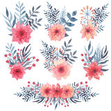 Set Of Watercolor Simple Bouquets With Red Flowers And Blue Leaves Royalty Free Stock Image